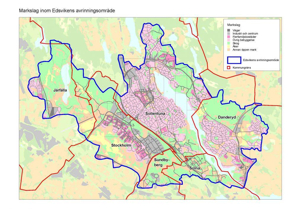 Geoveta tar fram åtgärdsprogram för Edsviken. Karta visar markanvädning inom Edsvikens avrinningsområde.