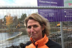 Eva vid en av tilltänkta badplatser, Vinterviken